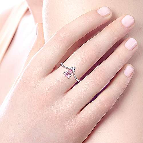 Teardrop Pink Created Zircon and Diamond Ring