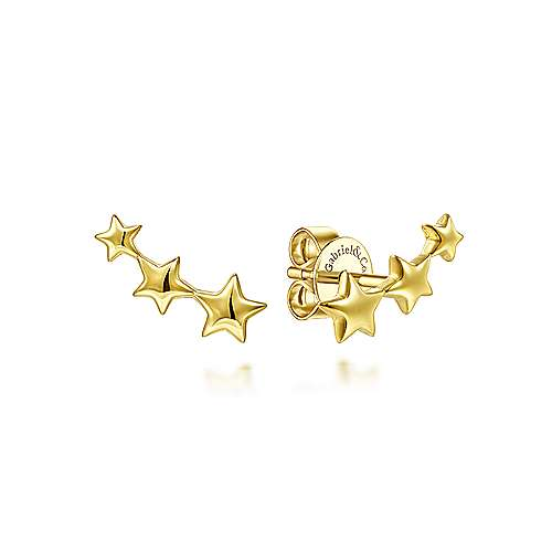 Triple Graduating Stars Curved Stud Earrings