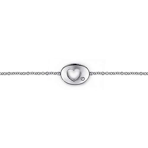 Sterling Silver Chain Bracelet with Diamond Cutout Heart Charm