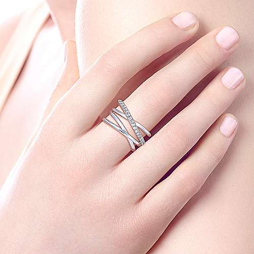 Sterling Silver Intersecting Ring with White Sapphire Center