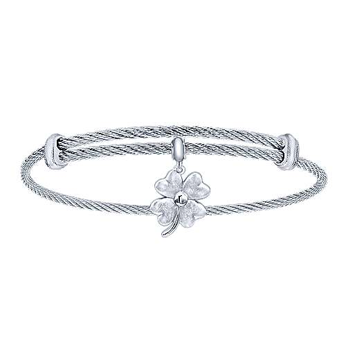 Stainless Steel Bangle with Sterling Silver 4-Leaf Clover Charm