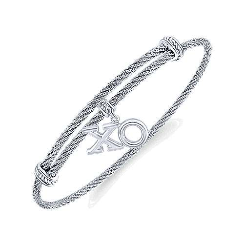 Stainless Steel Bangle with Sterling Silver XO Charm