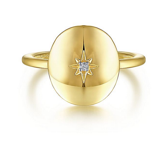 Oval Medallion Ring with Diamond Star Center - available on special order