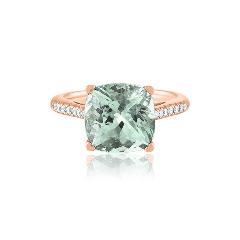 Prasiolite Diamond Ring