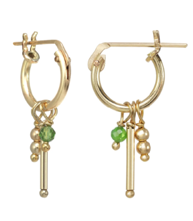Gold-filled Emerald Charms Huggie Earrings