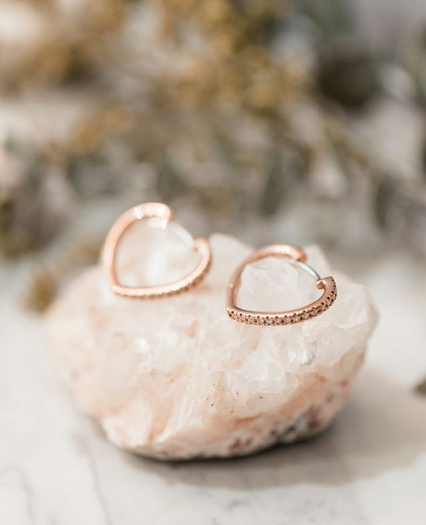 Rose Gold Heart Shape Diamond Hoop earrings