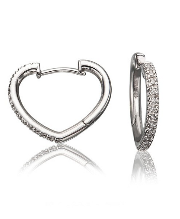 White Gold Heart Shape Diamond Hoop earrings