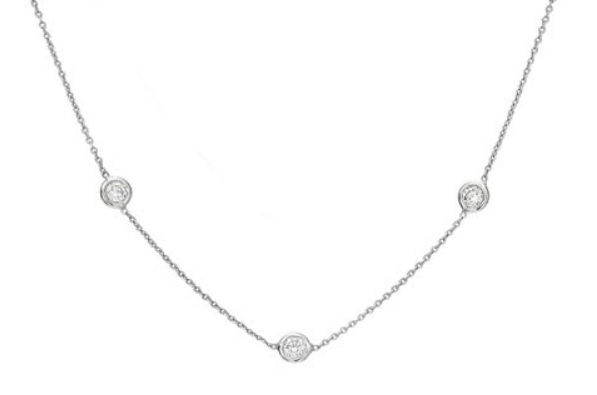 White Gold Three Diamond Station necklace