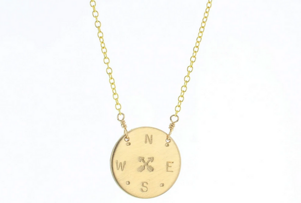 Gold-filled Compass Disc Necklace - available on special order