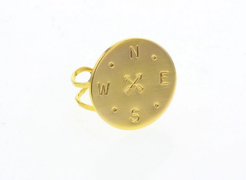 Gold-filled Compass Disc Ring