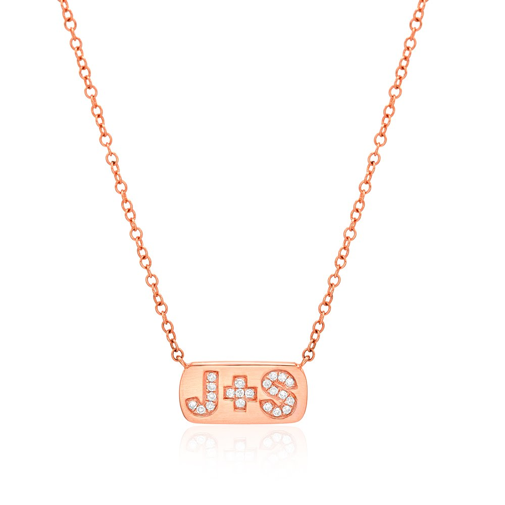 Personalized Diamond Necklace Initial Plaque
