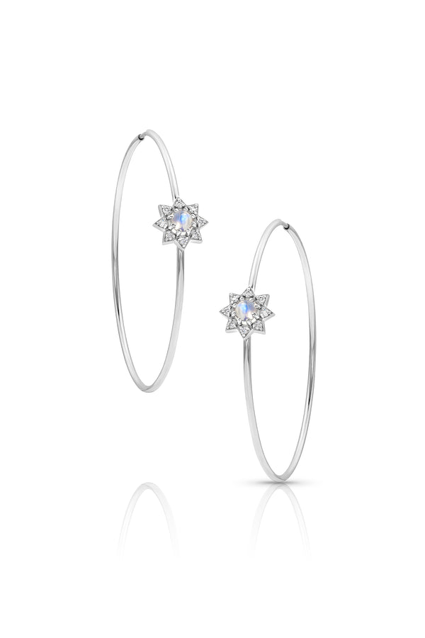Diamond and Moonstone Hoop White Earrings