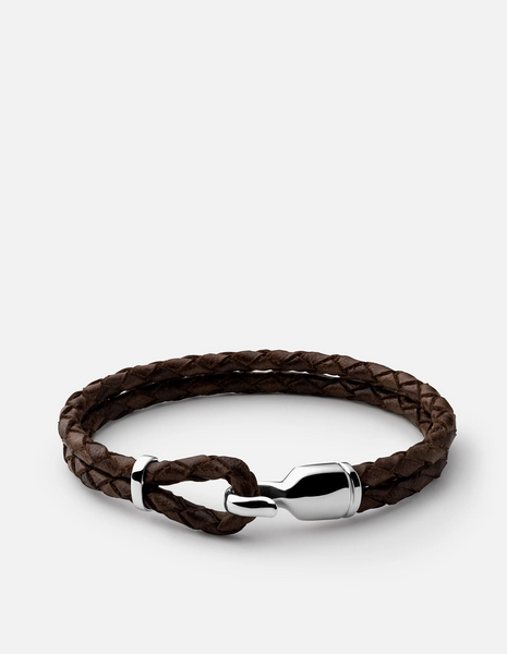 Sterling Silver Brown Leather Single Trice Bracelet