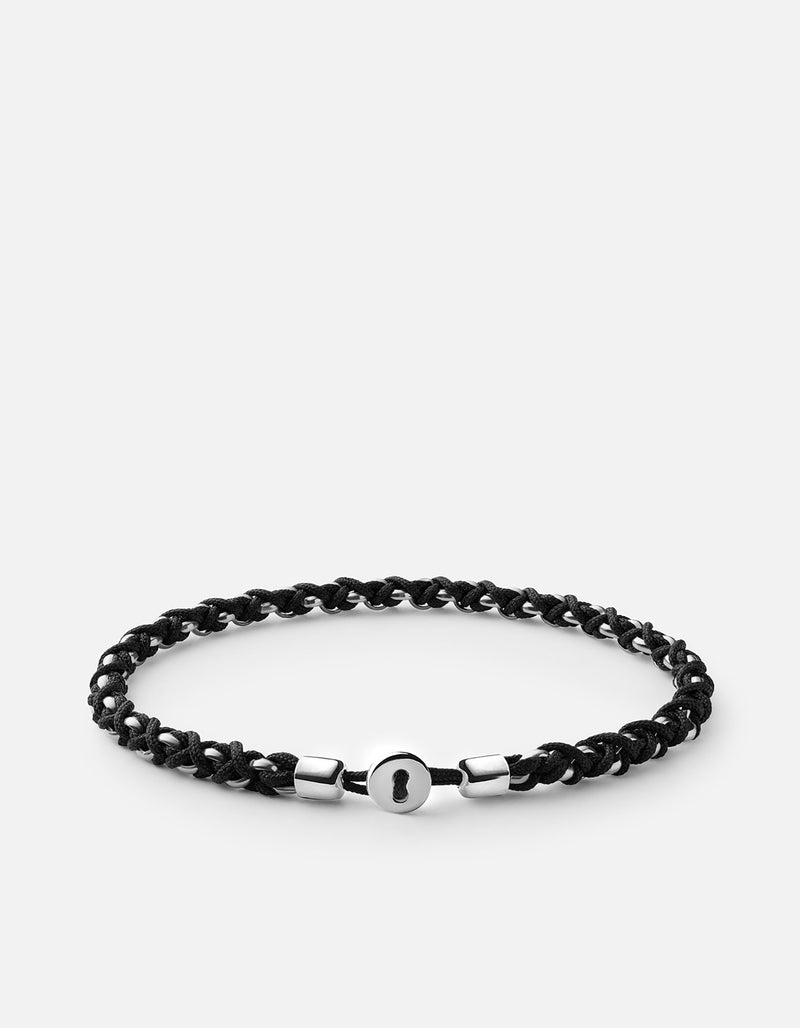 Nexus Chain Sterling Silver Black Bracelet