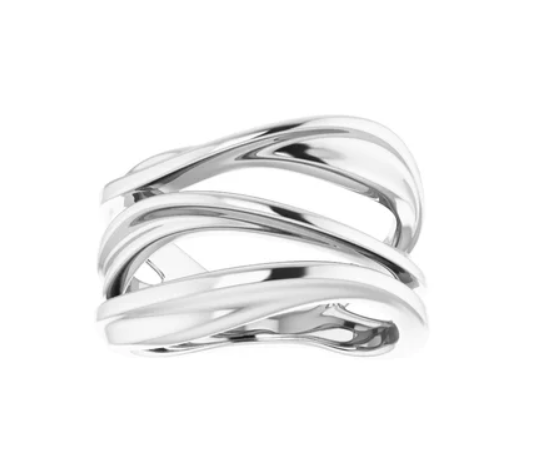 Silver Multi-row Negative Space Ring