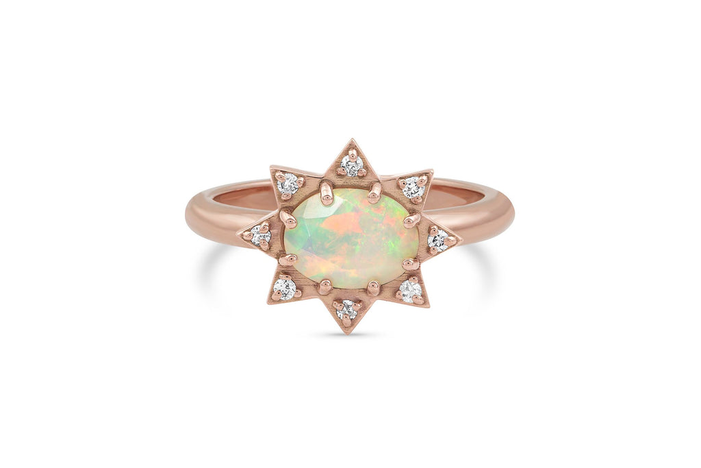 Opal and Diamond Starburst Ring