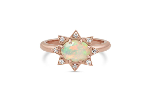 Opal and Diamond Starburst Ring - available on special order