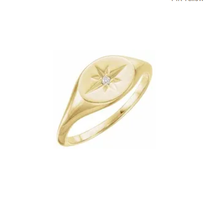 Diamond Starburst Signet Ring