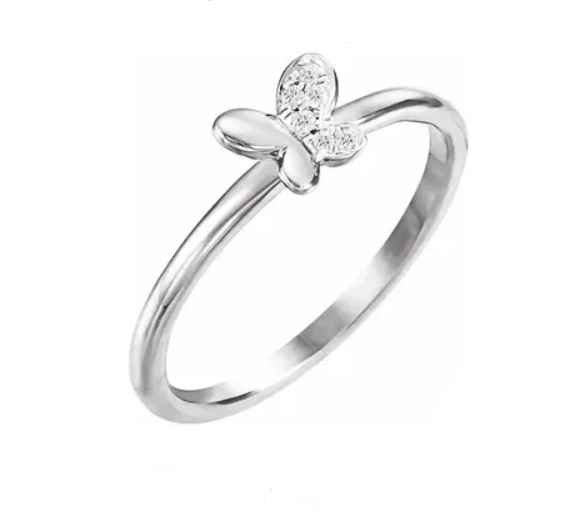 Petite SS Diamond Butterfly Ring - available on special order