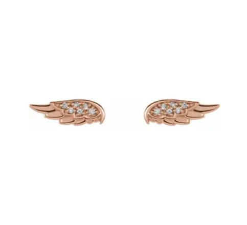 Diamond Angel Wing Stud Earrings - available on special order
