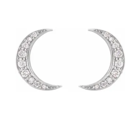 Crescent Moon Diamond Stud Earrings