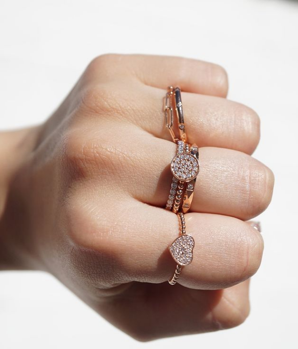 Petite Pyramid Diamond Band in 14K rose gold