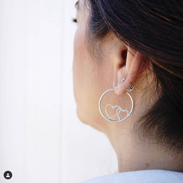 Silver Hearts Round Hoop Earrings
