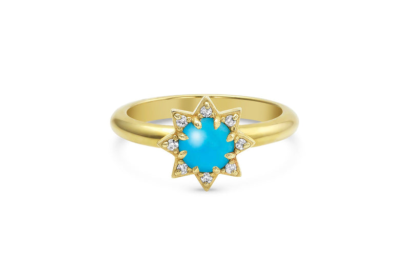 Turquoise and Diamond Starburst Ring