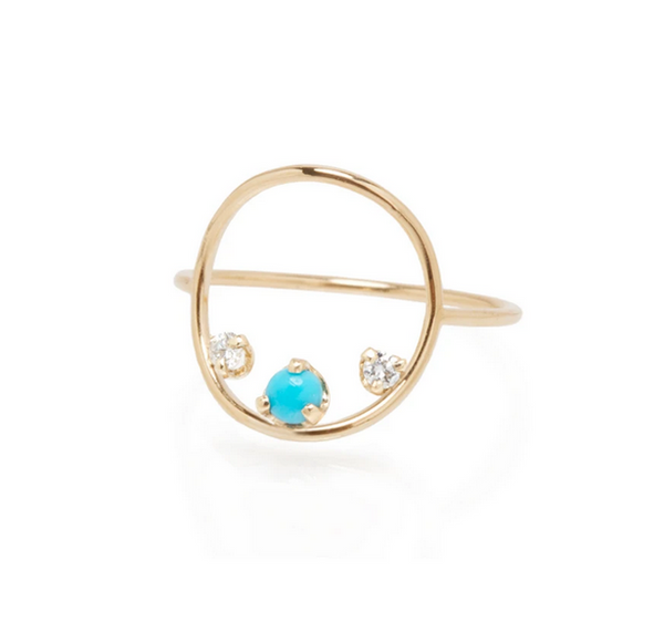 Turquoise and Diamond Circle Ring