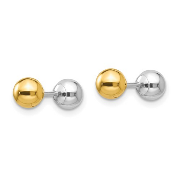 Reversible Two-tone Gold Ball Stud Earrings - available on special order