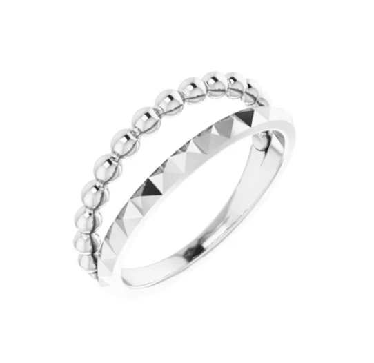 Silver Bead and Geometric Negative Space Ring