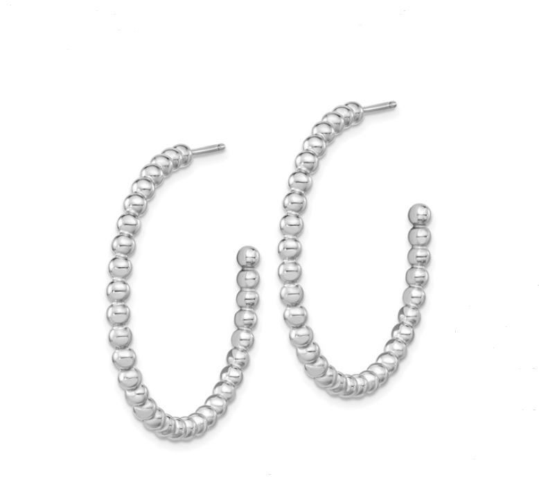 Silver Polished Beaded Hoop Earrings