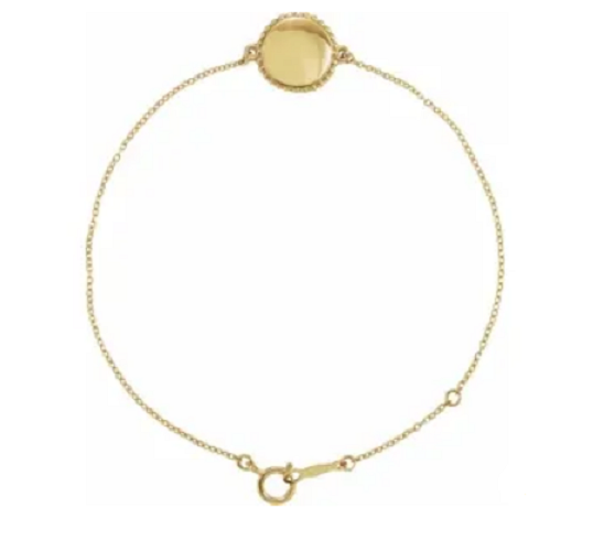Gold Engravable Beaded Disc Bracelet - available on special order