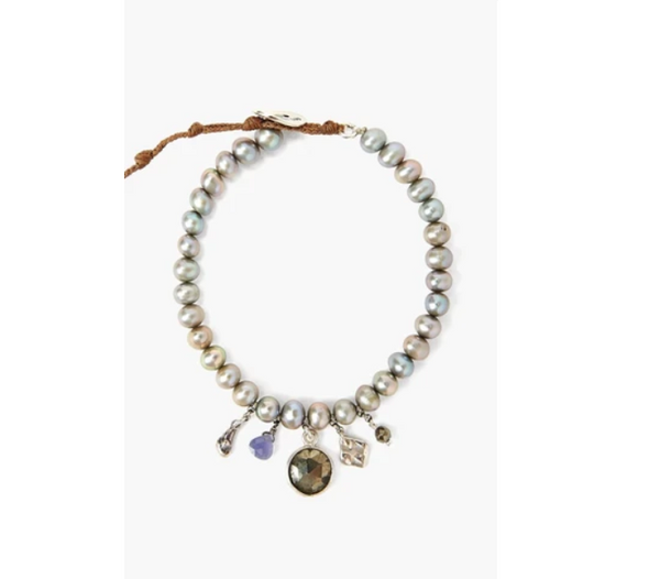 Pearl Bead Bracelet with Dangling Crystal Charms