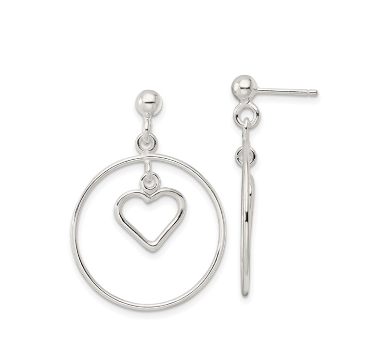 Silver Circle with Dangle Heart Post Earrings