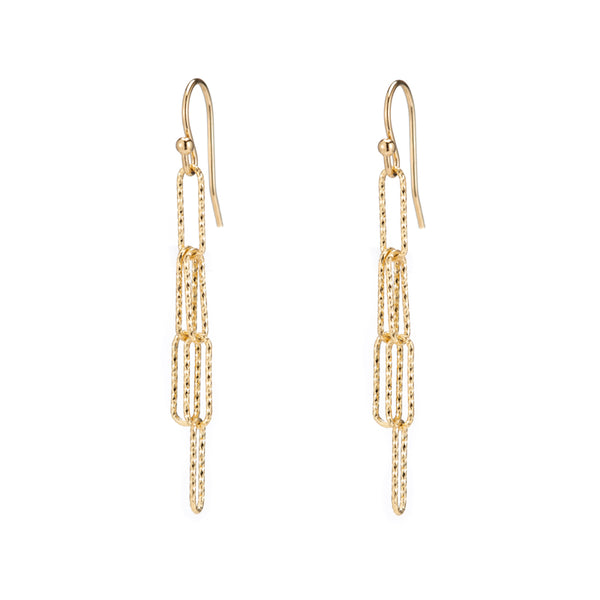 Rectangle Link Diamond Cut Drop Earrings