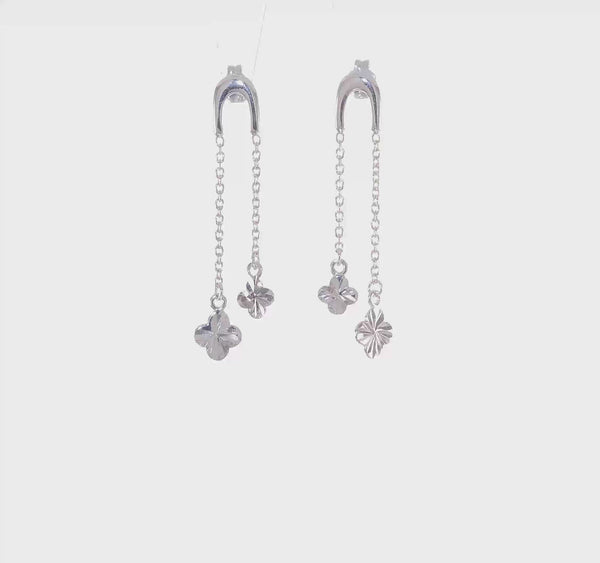 Silver Clover Chain Dangle Post Earrings