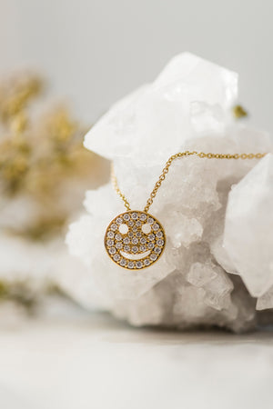 Yellow Gold Diamond Smiley Face necklace