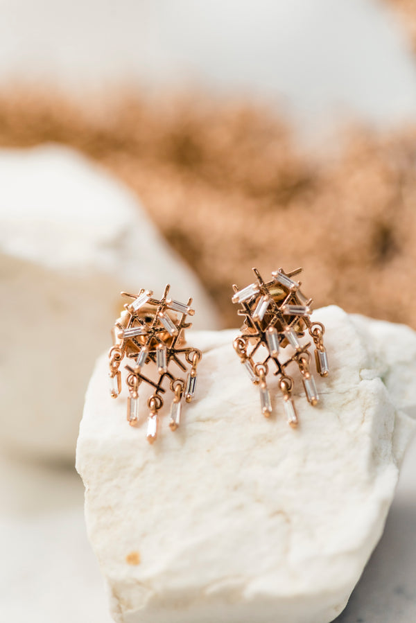 Baguette Diamond Fireworks Stud Earrings