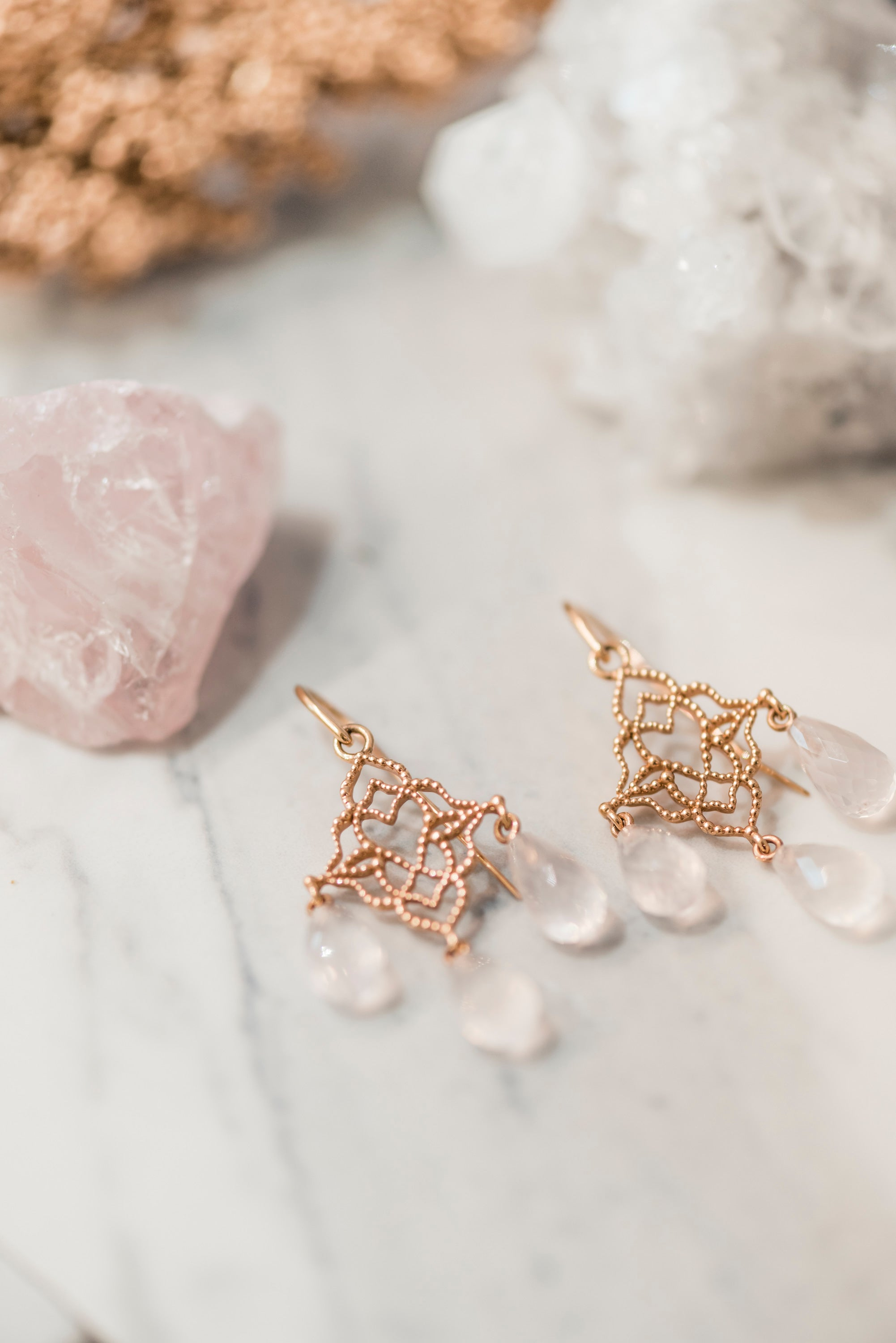 Rose Quartz Chandelier Drop Earrings
