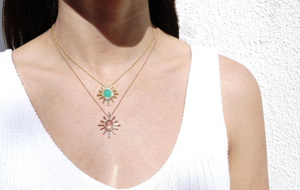 "Sunstone and Diamond ""Helen"" Necklace"