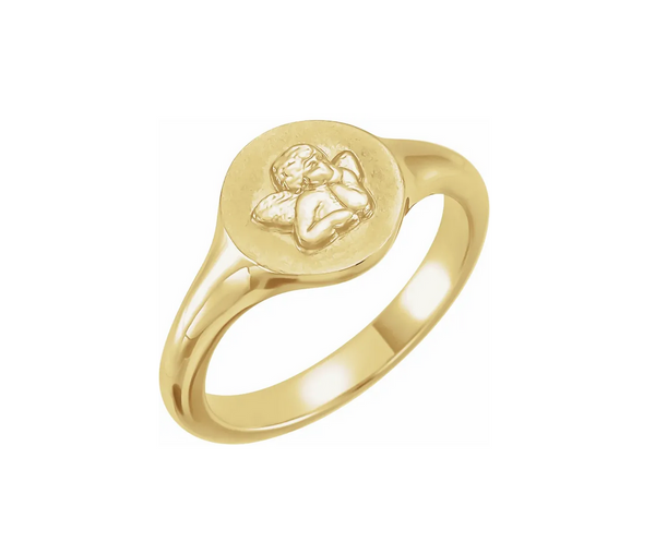 Sterling Silver Cherub Angel Pinky Ring