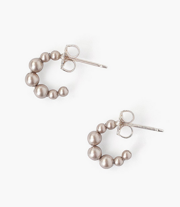 Mini Platinum Pearl Huggie Earrings - available on special order