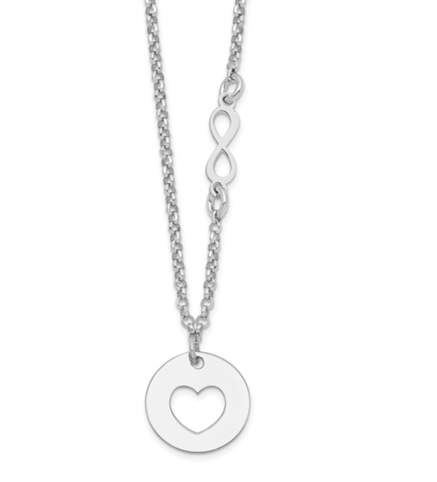 Silver Heart and Infinity Necklace