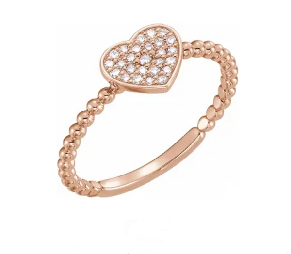 Diamond Heart Bead Ring