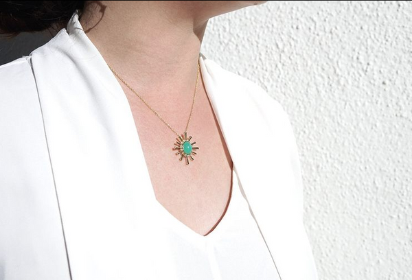 "Chrysoprase and Diamond ""Helen"" Necklace"