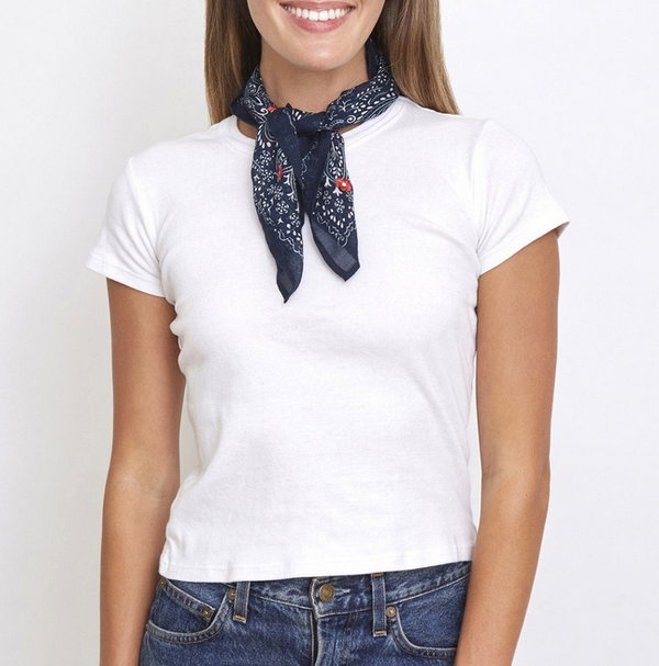 Mood Indigo Embroidered Bandana/Neckerchief