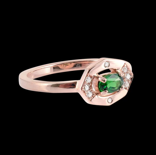 Dainty Tsavorite & Diamond Vertical Ring - available on special order