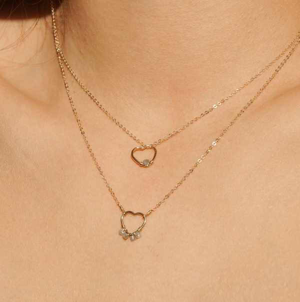 Gold-filled Single Ruby Open Heart Necklace