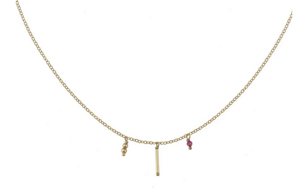 Gold-filled Ruby Bead Necklace